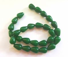 Dark Green Natural White Jade Gemstone Beads!!  14 X 10mm Teardrops.  15 Inch Strand of 27 Beautiful Beads!!  Really Unique!! by FunkyCreativeJuices on Etsy
