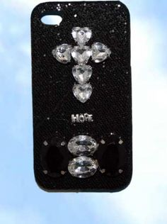iphone 4 case.  Crystal on black, a simple statement one-of-a-kind, detachable case, that says it all.  www.wowever.com   $24.95