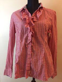Tommy Hilfiger Women's XL Red White Plaid Ruffle Button Up Shirt Long Sleeve    eBay
