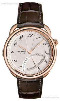 Hermes Arceau Temps Suspendu automatic watch (front view, opaline dial, rose gold)