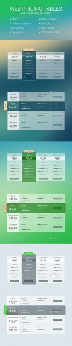 Website Pricing Tables Template PSD. Download here: http://graphicriver.net/item/website-pricing-tables/14409273?ref=ksioks