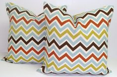 Chevron Pillows.SET OF TWO 18x18 inch.Decorator by ElemenOPillows, $32.00