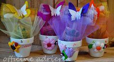 bomboniera battesimo: pianta grassa con vasetto personalizzato, decorazioni fiori in pasta polimerica