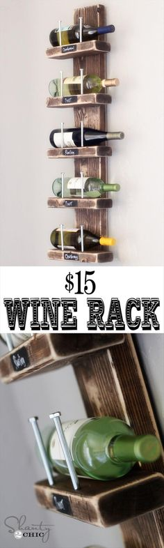 Homemade Wine Rack.  I could see making this for the fancave bar, but using something better-looking than the nails to hold the bottles on the rack (although that would be awesome for an industrial look).