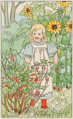 Girl by the red currant bush- looks like an Elsa Beskow illustration.