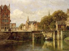 A View of Amsterdam with a Man in a Flat on a Canal, a Church in the Distance (Johannes Christiaan Karel Klinkenberg - ) Painter, Dutch Painters, Dutch Artists, Painting, Art, Johannes, Views