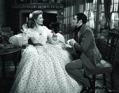 Elizabeth Bennet (Greer Garson) Mr. Darcy (Laurence Olivier) in the 1940s version of PRIDE AND PREJUDICE, although the clothing is COMPLETELY wrong for the time period in which this is supposed to be taking place.
