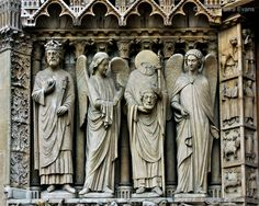 St. Denis is the patron saint of Paris. He's the one holding his head. He's flanked by angels on the side of the Notre Dame Cathedral in Paris. According to Christian tradition, he was decapitated by Romans around 250 CE, then walked for 6 miles, preaching a sermon the entire way.