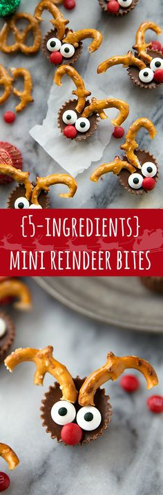 The easiest Christmas treat: 5-ingredient miniature reindeer candies. Greatfor a holiday gathering/entertaining!:
