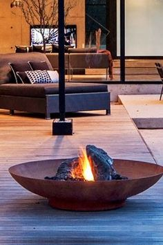 Corten Steel Fire Pit and Water Bowl backyard design diy ideas