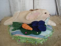 Bunny Pinkeep with Carrots & Flowers by YorkiesPrimitives on Etsy, $16.95