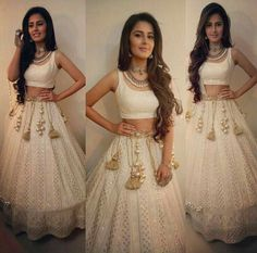 Indian fashion has changed with each passing era. The Indian fashion industry is rising by leaps and bounds, and every month one witnesses some new trend o Indian Lehenga, Indian Gowns, Indian Attire, Indian Wear, Lehenga Choli, Blue Lehenga, Anarkali, Look Fashion, Indian Fashion