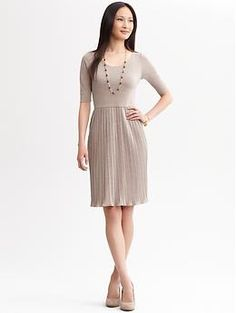 e614ca8423f Pleated Knit Dress (Beige). Banana Republic.  120.00