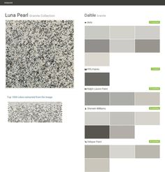 Luna Pearl. Granite Collection. Granite. Daltile. Behr. PPG Paints. Ralph Lauren Paint. Sherwin Williams. Valspar Paint.  Click the gray Visit button to see the matching paint names.