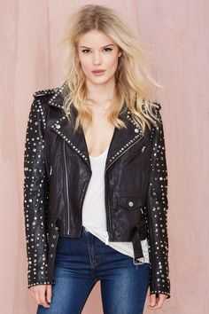 Maison Scotch Rocker Studded Leather Jacket