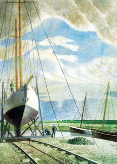 'Boatyard' by Eric Ravilious, June 1938