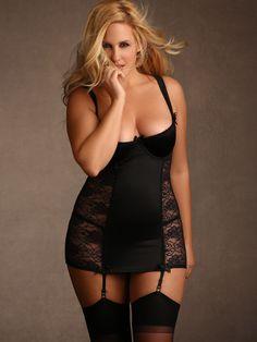 Plus Size Celine Open Cup Stretch Lace Garter Chemise, Black | Hips & Curves
