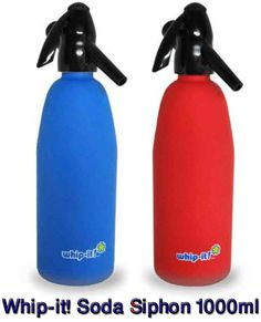 Dr.Butane - Whip-it! #SodaSiphon 1000ml Rubber Coated Body + Plastic Head => Capacity: 1 liter => Weight: 2.2 lbs => Dimensions: 4″ x 13″ => Colors: Blue or Red => Rubber coating provides extra grip in wet or dry conditions => HACCP compliant | Shop at- www.DrButane.com