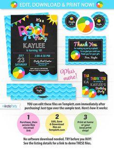 Pool Party Invitations Swim Party Girls Swim Party Pool $12.50 #PoolPartyInvitations #SwimParty #GirlsSwimParty