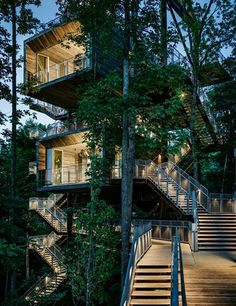 Visitors to the Sustainability Treehouse, designed by the architecture firms Mithūn and BNIM, ascend to learn about the various levels of the forest, from ground to tree canopy—all in a structure designed to have the least possible impact on the environment