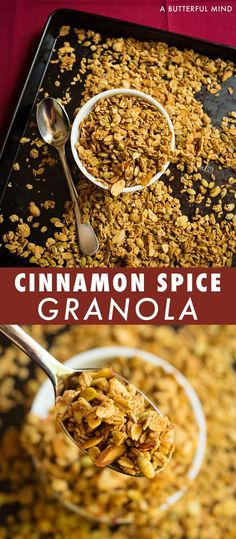 Crunchy cinnamon spice granola great makes the perfect fall scented breakfast topper. Grab by the handfuls or wrap it up for a holiday gift snack. Brunch Recipes, Fall Recipes, Breakfast Recipes, Snack Recipes, Vegan Breakfast, Drink Recipes, Baking Recipes, Dinner Recipes, Healthy Recipes