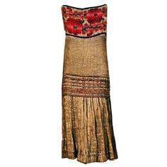 1stdibs.com | 1920's French Metallic-Gold Pleated Lame Floral Drop-Waist Flapper Dress