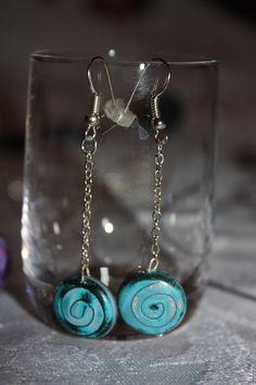 Boucles d'oreilles fimo spirales bleues et grises 3 : Boucles d'oreille par les-creations-fimo-de-marie