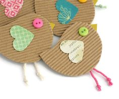 BEAKY BIRD Handmade Embellishments, Paper Birds for Junk Journals, Smash Books, Scrapbook Birds - Set of 5