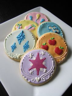 My Little Pony: Friendship is Magic Cutie Mark Cookies with Royal Icing - Mane Six on Etsy, $21.30