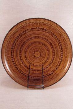 Vintage Iittala Finland KASTEHELMI Dinner Plate - Brown - Oiva Toikka