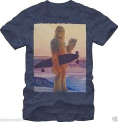 New Authentic Mens Star Wars Wookie Long Board TShirt S-2XL Chewbacca