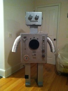 Robot Assembly Line / Greeter-bot.  Just over 5' tall - my masterpiece - #Robot Birthday Party #robotparty