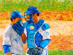 Baseball Pitcher Catcher Meeting at Mound Fine Art Canvas Print Digital Painting by JPetrillo9 on Etsy https://www.etsy.com/listing/254903744/baseball-pitcher-catcher-meeting-at
