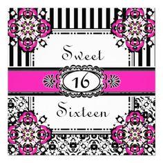 Sweet Sixteen Pink Girl's Birthday Invitations
