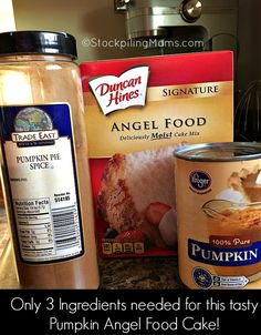 This easy dessert recipe for Pumpkin Angel Food Cake is so yummy with only 3 ingredients! Pumpkin Angel Food Cake Recipe, Pumpkin Dessert, Pumpkin Recipes, Low Calorie Desserts, Ww Desserts, Fall Dessert Recipes, Angle Food Cake Recipes, Dump Cake Recipes, Pineapple Angel Food