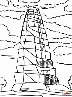 Tower of Babel and the Confusion of Tongues coloring page