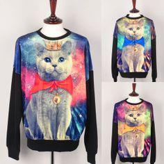 k womens graphic galaxy cat printed long sleeve sweatshirt sweats t-shirts top | eBay