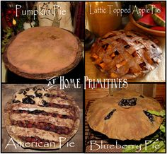 All these pies are made of muslin by At Home Primitives