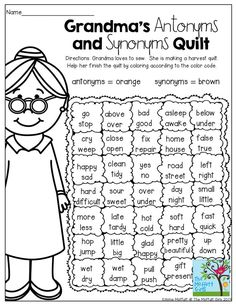 Grandma's Quilt - Antonyms and Synonyms! (Color by the code)