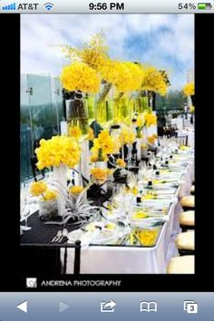 Yellow black and white wedding