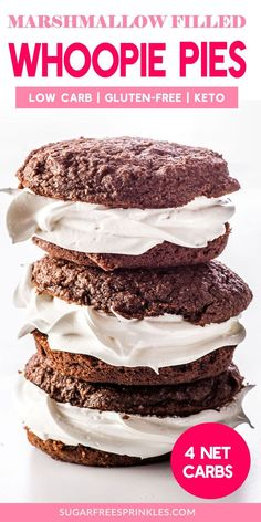 These keto whoopie pies are sweet and delicious, filled with a gooey low carb marshmallow filling.This filling tastes like old fashioned marshmallow fluff, with almost zero carbs (it\'s so low it doesn\'t register! These little cakes are only 4 net carb Keto Friendly Desserts, Low Carb Desserts, Low Carb Recipes, Baking Recipes, Dessert Recipes, Cookie Recipes, Cookie Ideas, Dessert Ideas, Breakfast Recipes