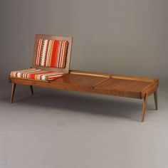 Anonymous; Walnut 'Pop-Up' Bench/Sofa by Brown Saltman, 1950s.