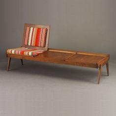 Anonymous; Walnut 'Pop-Up' Bench/Sofa by Brown Saltman, 1950s.
