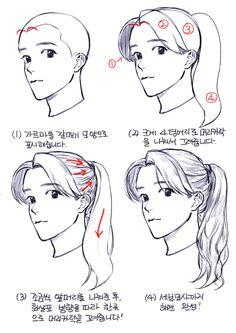 Drawing Hair Tutorial, Manga Drawing Tutorials, Sketches Tutorial, Manga Tutorial, Hair Reference, Art Reference Poses, Drawing Reference, Digital Art Tutorial, Digital Painting Tutorials
