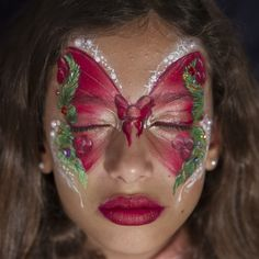 Red butterfly - christmas Girl Face Painting, Body Painting, Face Paintings, Frozen Face Paint, Christmas Face Painting, Red Butterfly, Face Design, Face Art, Face And Body
