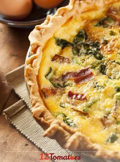 Bacon And Spinach Quiche   Quiche is an easy and delicious meal– and it's a great way to incorporate some protein into your diet!