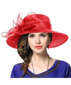 4141a4c8e4306 Hat For Women Summer Lace Wide Brim Flower Fascinator Sun Protection ...