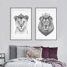 The Lioness Queen Art Print. Shop framed and unframed art prints and posters on Fy ✓ Free, fast shipping ✓ 100 day returns ✓ Museum quality paper & printing ✓ Professionally framed Bedroom Prints, Bedroom Art, Lion And Lioness Tattoo, King And Queen Pictures, Black King And Queen, King Queen, Lion Wall Art, Lion Drawing, Lion King Art