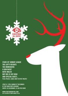 Christmas party poster I like the style: white illustration minimalist on a colour background