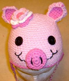 9bb66c512cc Items similar to Pink Piggy Hat with tail. on Etsy